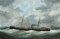 r. bell & co.s steamship bothal in a heavy swell by marie-edouard adam