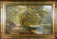 forest glade with stream by august jacobsen