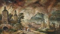 landschaft mit aeneas, der seinen vater anchises aus dem brennenden troja trägt by kerstiaen de keuninck