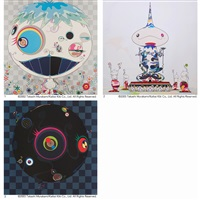 1. jellyfish, 2. reversed double helix mega power, 3. black beard by takashi murakami