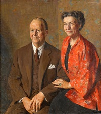 portrait of mr. & mrs. henry r. hallowell by daniel garber