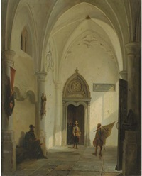 at the church entrance by bernardus van de laar