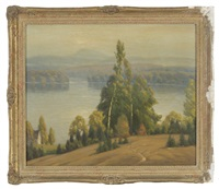 early autumn landscape with mountain lake by gustave adolph wiegand