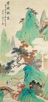 云树秋岚 立轴 设色纸本 by huang shanshou