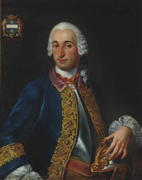 portrait of a gentleman, possibly denis robert bruneau de vitry, baron de vitry, half-length, in a breastplate and blue coat with gold embroidery, his left hand resting on his helmet by louis tocqué