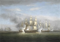 h.m.s. arethusa and the british frigates flora, melampus, concorde and nymphe, engaging the french frigates l'engagement, resolue, pomone and babet off guernsey, 23rd april 1794 by thomas luny