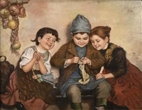 three children when knitting. three children in home interior when knitting by edmund adler