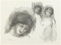 la pierre aux trois croquis (from douze lithographies originales (d.; s. 41)) by pierre-auguste renoir