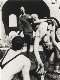 simone + olympic wrestlers, rome by william klein