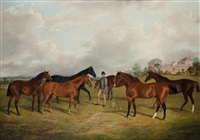 hunters and groom in a paddock by george henry laporte