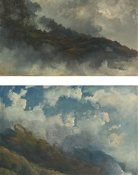 a pair of cloud studies: untitled and galipán, caracas, venezuela by fritz siegfried george melbye