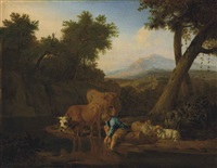 a wooded, river landscape with cattle watering and a shepherd resting, mountains beyond by adriaen van de velde