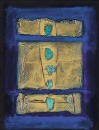 tiga bidang emas dengan noktah - noktah turqoise (three gold plate with turquoise node) by ahmad sadali