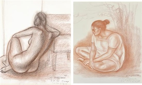 seated woman and jose pair by raúl anguiano