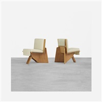 pair of lounge chairs from the clarence sondern house, kansas city by frank lloyd wright