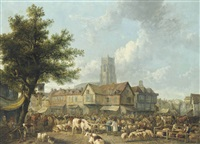 a market scene in a village by henry milbourne