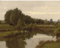 the old avon from nafford, the malvern hills in the distance by blandford fletcher