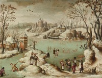 a winter townscape with figures by abel grimmer