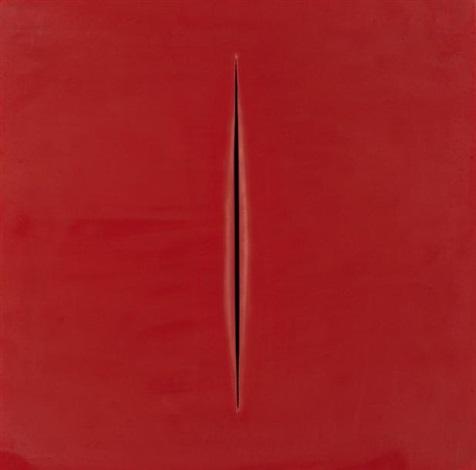 concetto spaziale rosso by lucio fontana