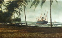 the ship hero aground off a tropical beach by antonio jacobsen