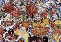 bleuets, pivoines, marguerites et fruits by rady rautovich yakubov