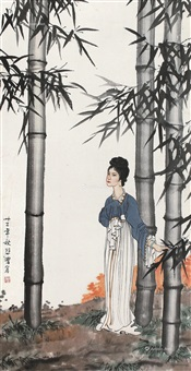 幽竹仕女 镜片 设色纸本 ( ladies in the bamboo) by xu beihong