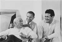 roger pic, pablo picasso and charles feld, mougins (3 works) by roger pic