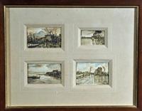 paesino di campagna; il golfo; in cammino; la strada (4 works in 1 frame) by antonio asturi
