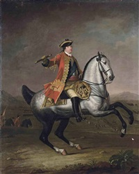 equestrian portrait of prince william augustus, duke of cumberland, in a scarlet military state coat with the ribbon of the garter, with infantry... by david morier