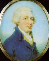 a gentleman with powdered hair en queue, wearing blue coat by edward miles