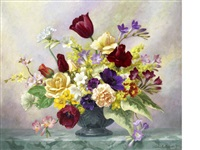 spring flowers with mimosa by john e. nicholls