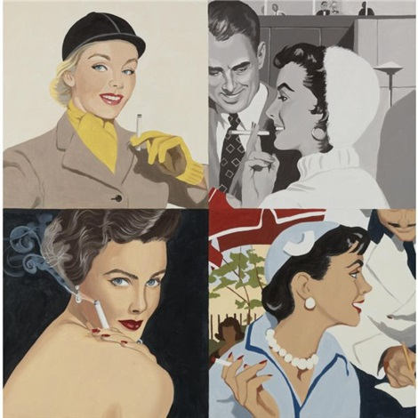 woman smoking white hat by julia jacquette
