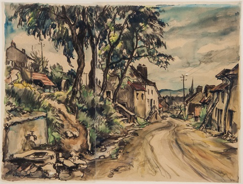 une route a travers le village by maurice de vlaminck