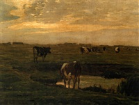 cattle by a pond at sunset by oskar frenzel