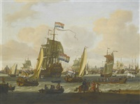 shipping on the ij with amsterdam beyond by abraham jansz storck