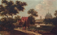 travellers on a track before a canal, a mansion and windmill beyond by johannes dircksz oudenrogge
