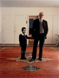 saul steinberg posing with himself by evelyn hofer