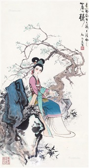 梅影消歇图 镜框 设色纸本 by gu bingxin