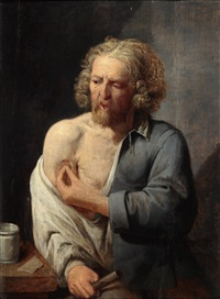 halbfiguriges porträt eines mannes, der sich verarztet by david ryckaert iii