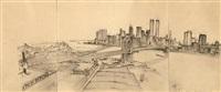 untitled (manhattan skyline with brooklyn bridge) by rackstraw downes
