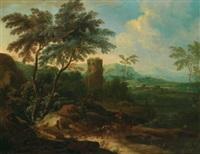 bewaldete flusslandschaft mit einem turm, reitern und vielen figuren by maximilian joseph schinnagl and franz christoph janneck