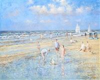 enfants jouant à la plage by arie van noort
