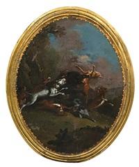 scènes de chasse (pair) by carl borromaus andreas ruthart