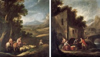 jacob and his household journeying to meet esau (+ laban searching for the images of jacob as secreted by rachel; pair) by ignacio de iriarte