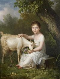 portrait de jeune fille nourrissant sa chèvre by firmin massot