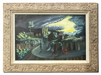 nocturnal haitian landscape with figures on a path leading to a church by charles obas
