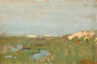 sand dunes (+ study of a girl's head; 2 works) by sir george clausen