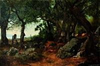 bucheron près d'un chemin by jean d' alheim