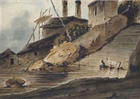 a ghat in bengal by george chinnery