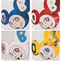 1. and then x 6 (blue: the superflat method) 2. and then x 6 (vermillion: the superflat method) (+ 2 other works; 4 works) by takashi murakami